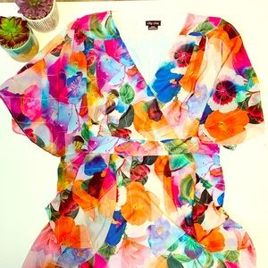 City Chic Bright Floral Tunic Dress